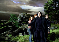 Professor Snape tries to protect the children