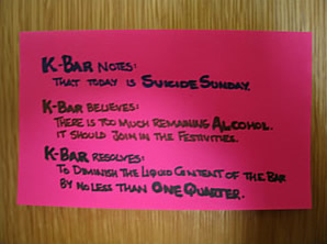 K-Bar Suicide Sunday manifesto