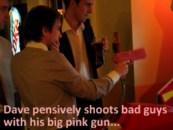 Dave pensively shoots bad guys with his big pink gun
