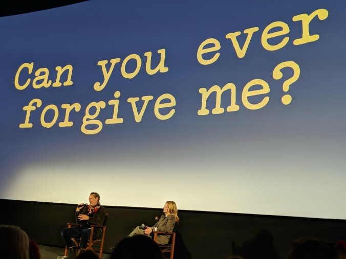 Richard E. Grant being interviewed after a screening of Can You Ever Forgive Me?